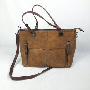 Handbags - Brown Faux Leather Pocket Tote